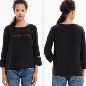Madewell Eyelash Lace Inset Silk Top